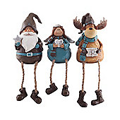 Reindeer, Angel & Father Christmas Shelf Sitting Figurine Ornament Set