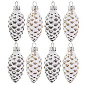 Set of 8 Snowy Look Glass Pine Cone Christmas Tree Bauble Decorations
