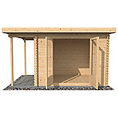 9ft x 8ft (3m x 2.5m) Pent Style Log Cabin (Single Glazing) 28mm T&G