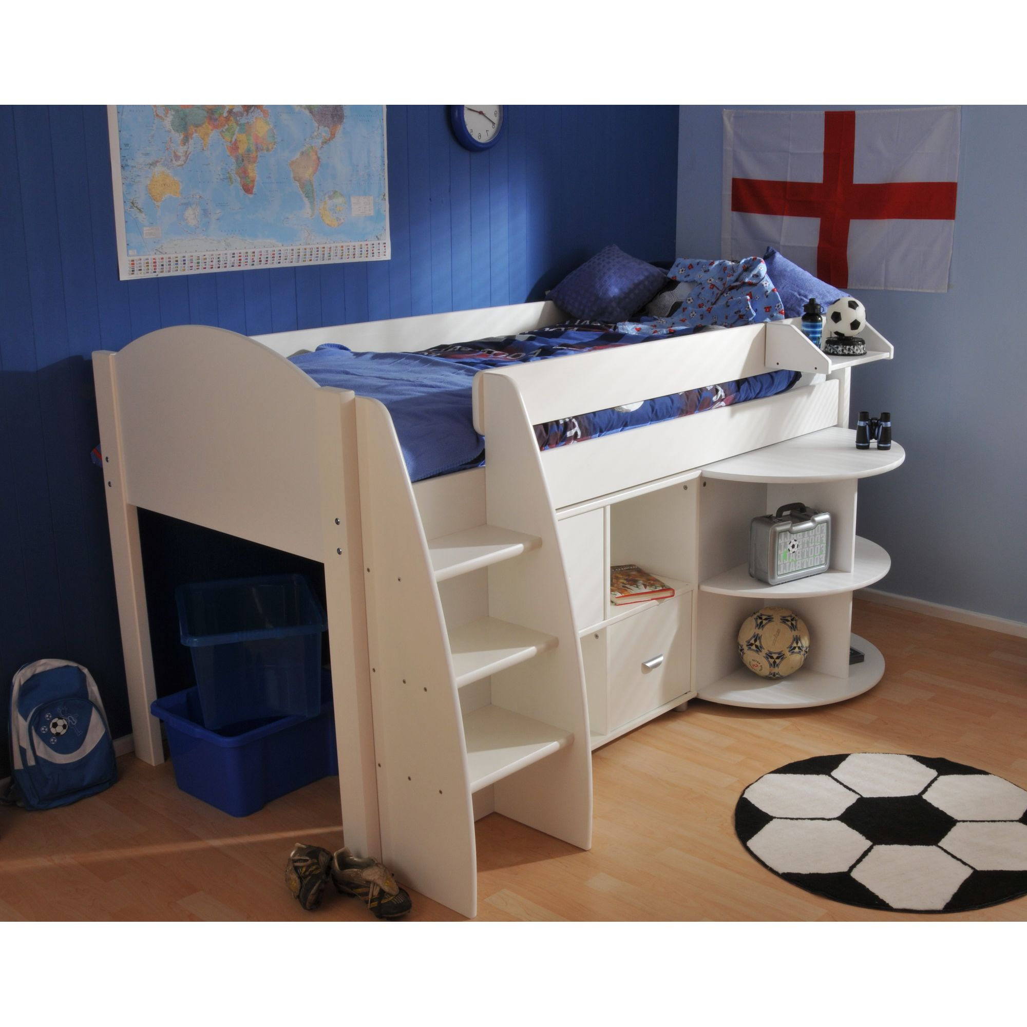 Stompa Rondo Mid Sleeper with Cube Unit and Extending Desk - Lilac - White at Tescos Direct