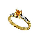 QP Jewellers Diamond & Citrine Ornate Gemstone Ring in 14K Gold