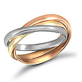 Jewelco London 9ct Yellow,white & rose Gold hand assembled 2mm Russian Wedding Ring