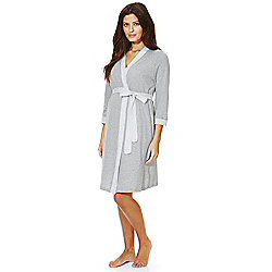 F&F Striped Maternity Dressing Gown S Grey