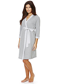 F&F Striped Maternity Dressing Gown - Grey