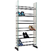 6 Tier 18 Pair Glass Shoe / Boot Storage Shelves