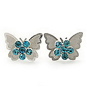 Teen Rhodium Plated Azure Crystal 'Butterfly' Stud Earrings - 15mm Width