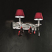 De Majo Noto Two Light Wall Lamp with Shade - Chrome - Clear / White