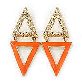 Double Triangular Neon Orange Enamel Drop Earrings In Gold Plating - 5.5cm Length