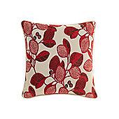 Linea Leaf Design Chenille Cushion, Red