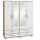 Ideal Furniture Regal 4 Door Wardrobe with Mirrors