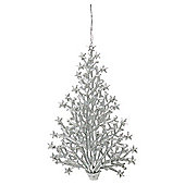 Festive 160mm Silver Glittered Acrylic Tree Christmas Decoration
