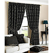 Hanover Ready Made Pencil Pleat Curtains - Fully Lined - Beige, Black & Damson - Black