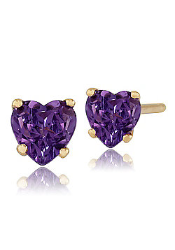 Gemondo 9ct Yellow Gold 0.38ct Amethyst 4 Claw Set Heart Stud Earrings 4x4mm