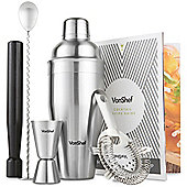 VonShef Manhattan Stainless Steel Cocktail Shaker With Gift Box and Recipe Book