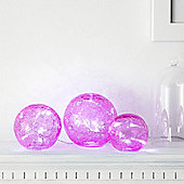 Set of 3 Pink Battery LED Fairy Light Orbs