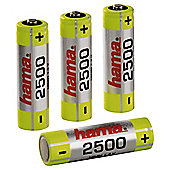 Hama NiMH Rechargeable Batteries 4x AA Mignon HR 6 2500 mAh