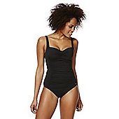 F&F Shaping Swimwear Tall Illusion Ruched Swimsuit - Black