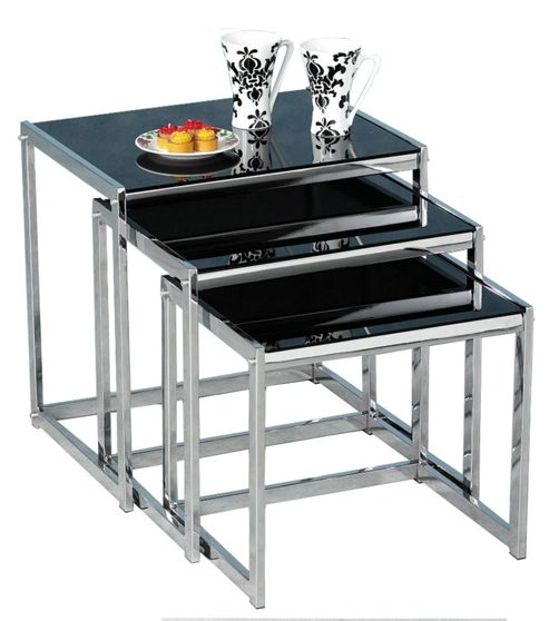 Buy Novella Black Glass And Chrome Nest Of Tables From Our