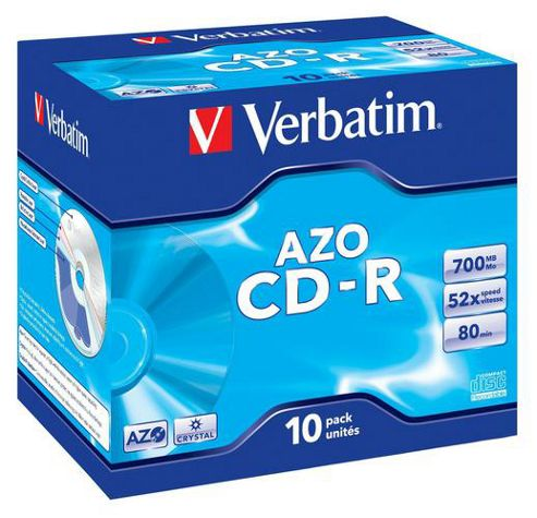 Verbatim 80MIN 52x CD-R Disc, Box of 10 Slim Case