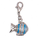 Stripy Blue Fish Clip on Charm