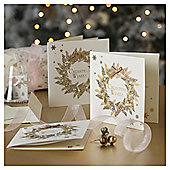 Gold Wreath Luxury Christmas Cards, 6 pack