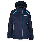 North Womens Snowproof Hooded Fleece Lined Snowboarding Skiing Ski Jacket - Blue