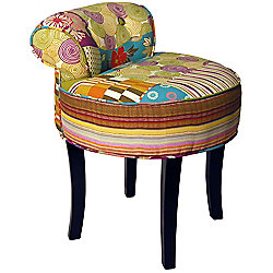 PATCHWORK Shabby Chic Chair Stool / Wood Legs Multicoloured