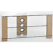 TNW Vision 1050 Oak and Clear Glass TV Stand