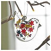 Gisela Graham Glass Bird Floral Design Hanging Decoration