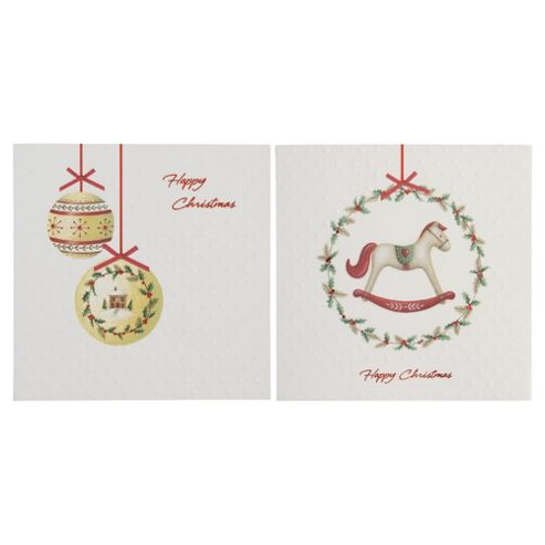 Tesco Traditional Baubles And Wreath Christmas Cards, 12 Pack