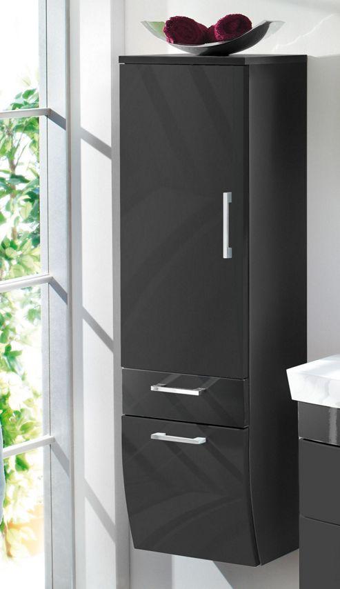 Posseik Rima 30 x 40cm Tall Sloping Bathroom Side Cabinet - Walnut Effect