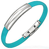 Urban Male Men's Stainless Steel & Aqua Blue Rubber Bangle
