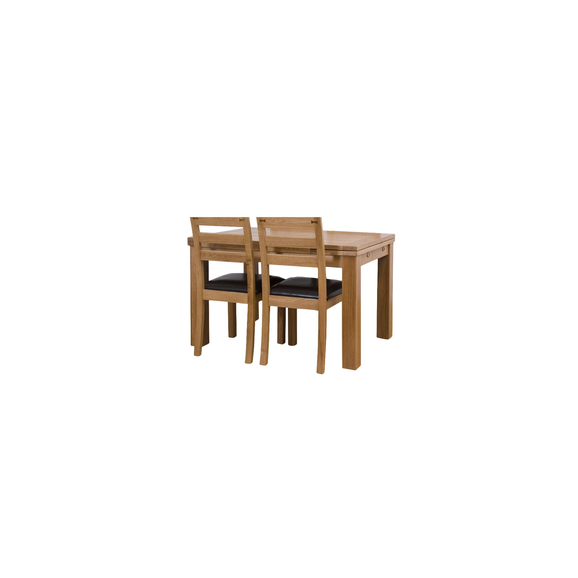 G&P Furniture Rectangular Extending Oak Dining Table - 76.2cm H x 120cm - 180cm W x 80cm D