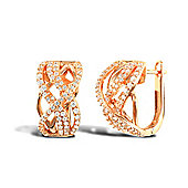 Jewelco London Rose Coated Sterling Silver Cubic Zirconia Pave Micro Set Stud Earrings
