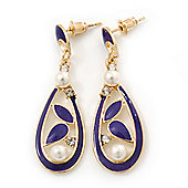 Violet Blue Enamel White Simulated Pearl Teardrop Earring In Gold Plating - 45mm Length