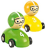 Bigjigs Toys Pull Back Racing Car (Pack of 2 - Yellow and Green)