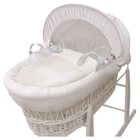 buy kinder valley white waffle moses basket from our moses. Black Bedroom Furniture Sets. Home Design Ideas