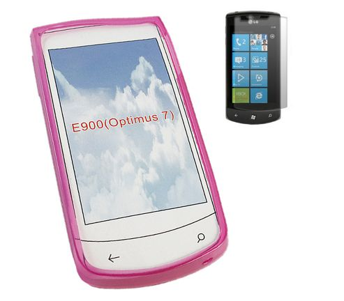 iTALKonline 16459 Twin Pack ProGel Skin Case and LCD Screen Protector Pink For - LG LG E900 Optimus 7