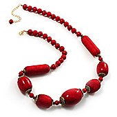 Glamorous Red Nugget Ceramic Necklace