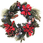 Pre Lit Red Poinsettia Christmas Wreath, 51cm (20 LEDs)