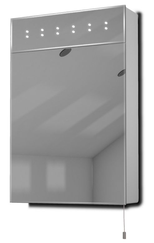 Buy sheva led illuminated battery bathroom mirror cabinet for Bathroom cabinets tesco