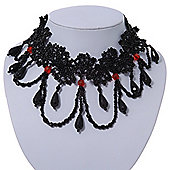 Stunning Jet Black/Red Acrylic Bead Lacy Style Choker - 28cm Length/ 6cm Extension