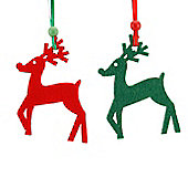 Red & Green Reindeer Christmas Decorations - Set Of Six