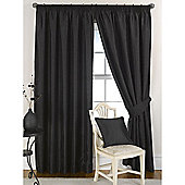KLiving Pencil Pleat Ravello Faux Silk Lined Curtain 65x90 Inches Black