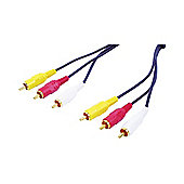 Nikkai Composite Video AV TV 3X Phono Cable Lead 1.5M