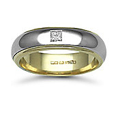 9ct Yellow & White Gold 6mm 2-Piece D-Shape Diamond set 10pts Solitaire Wedding / Commitment Ring