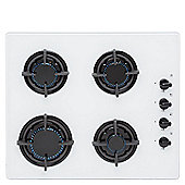 SIA GHG602WH 60cm White 4 Burner Gas on Glass Hob With FFD/LPG KIT/CAST IRON