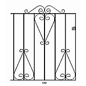 Wrought Iron Style Metal Scroll Garden Gate 84cm GAP x 91cm High