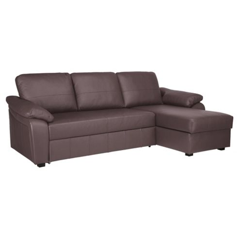 Buy ashmore leather corner chaise sofa bed brown right for Brown chaise sofa bed
