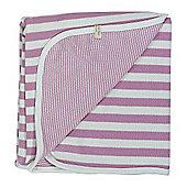 Pigeon Organics Reversible Blanket, Broad Stripe (Pink)